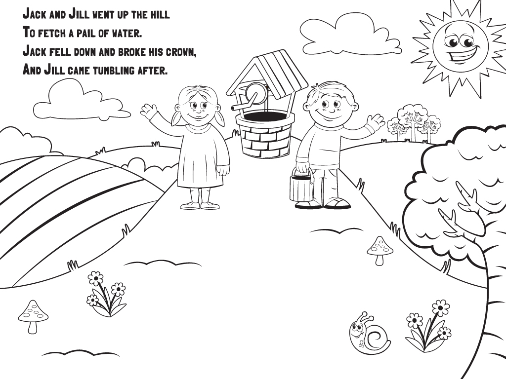 jack and jill coloring pages - language nursery school hey diddle diddle